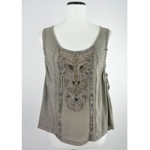Free People Split Back Embroidered Top M #772
